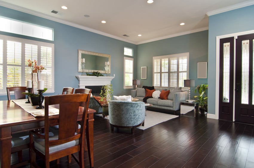 A cute living room with light blue walls and dark hardwood floors.