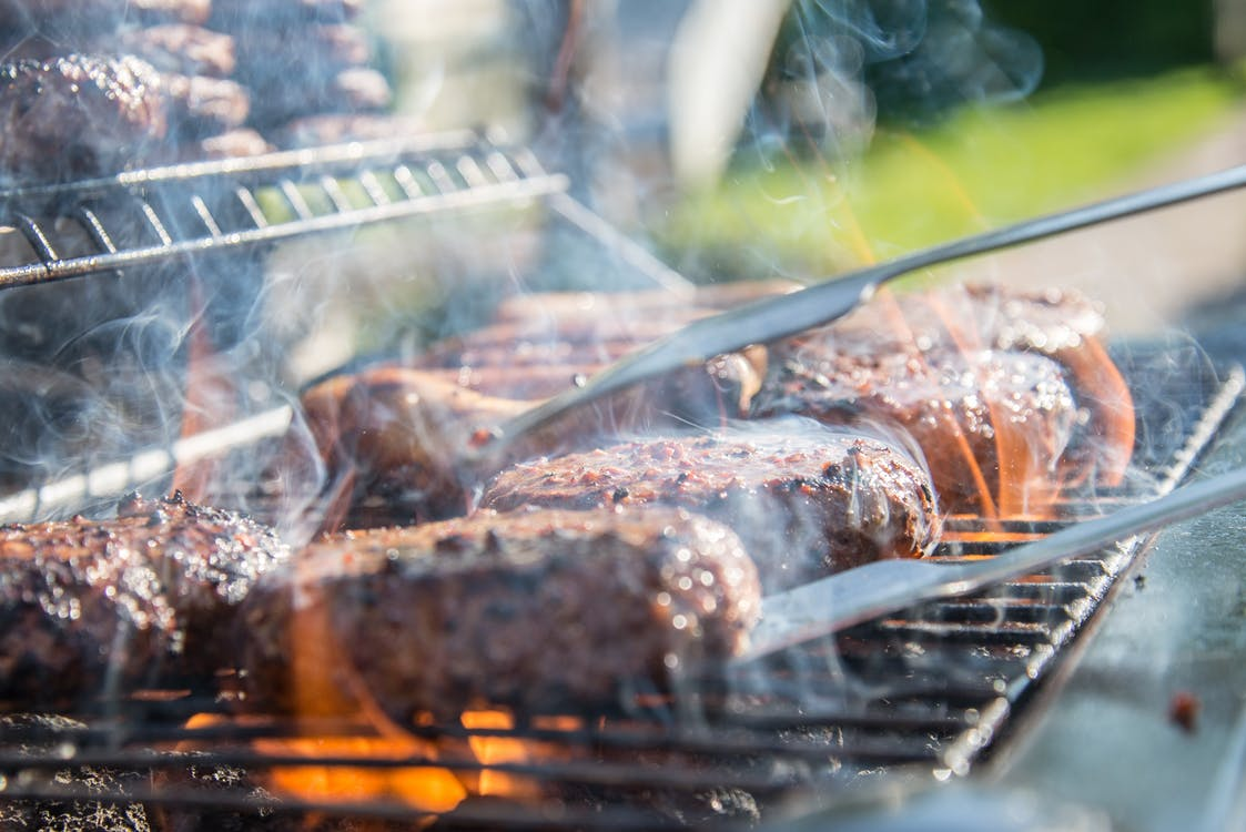 Meat on a grill.